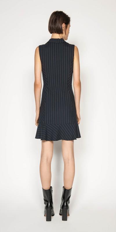 Dresses | Camel Pinstripe Button Front Dress