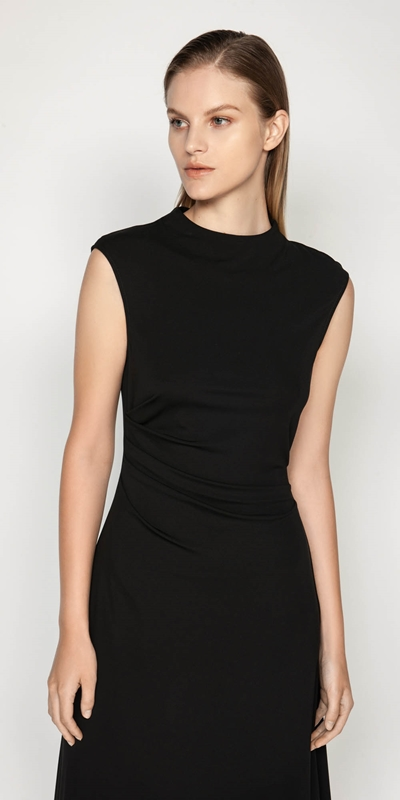 Work From Home  | Jersey Draped Waist Dress