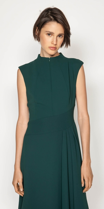 Dresses  | Crepe Funnel Neck Dress