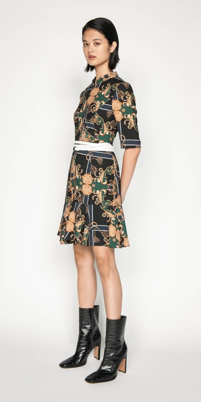 Wear to Work | Golden Baroque Cropped Sleeve Dress
