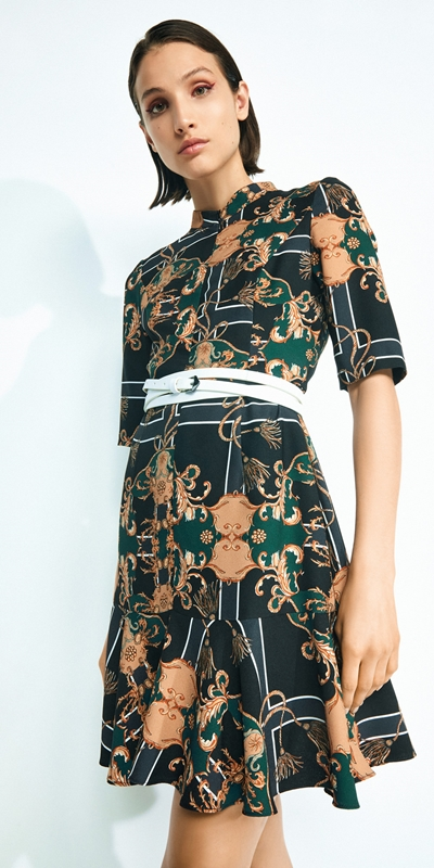 Sale  | Golden Baroque Cropped Sleeve Dress