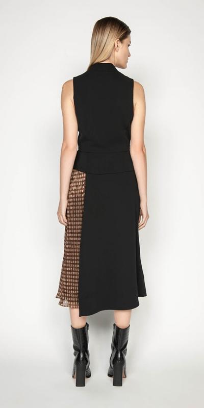 Dresses | Spliced Metallic Check Wrap Dress