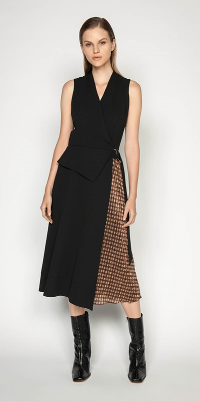 Dresses | Spliced Metallic Check Wrap Dress