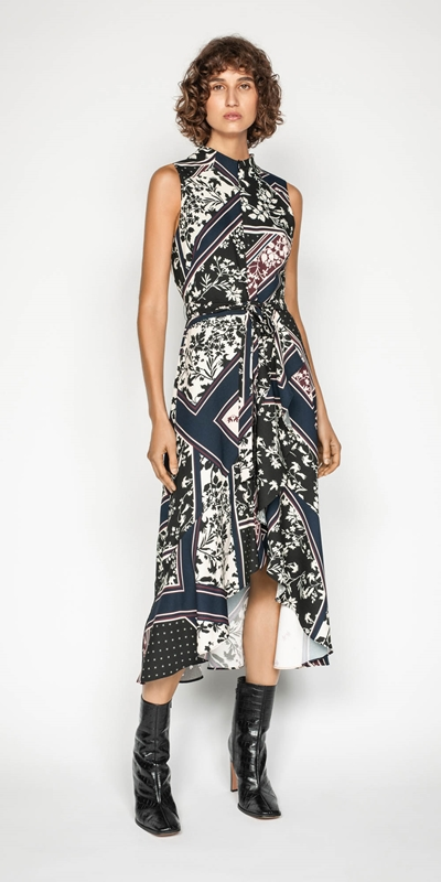 Work From Home | Scarf Print Longline Frill Dress