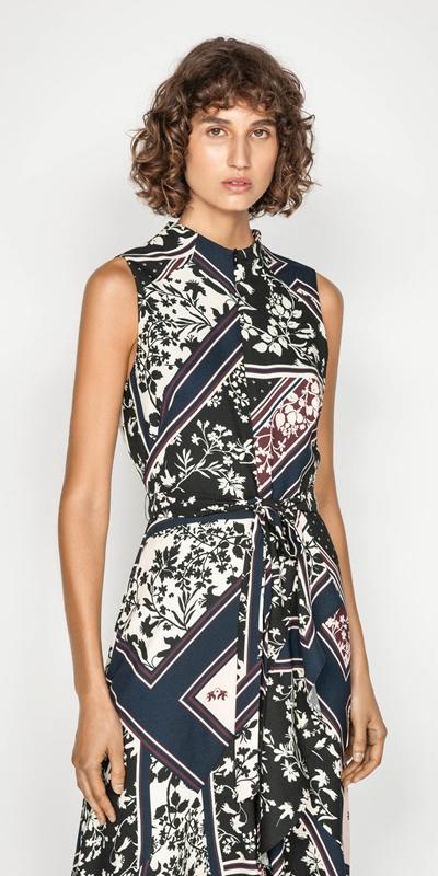 Dresses | Scarf Print Longline Frill Dress