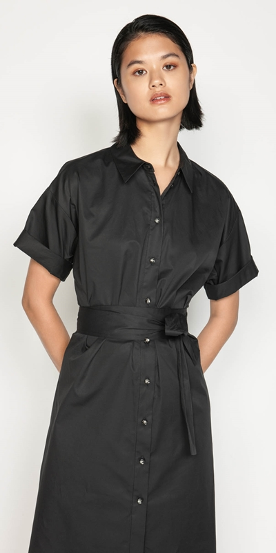 Work From Home  | Belted Shirt Dress