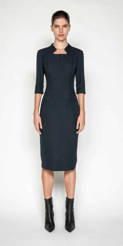 Dresses | Houndstooth Funnel Neck Pencil Dress