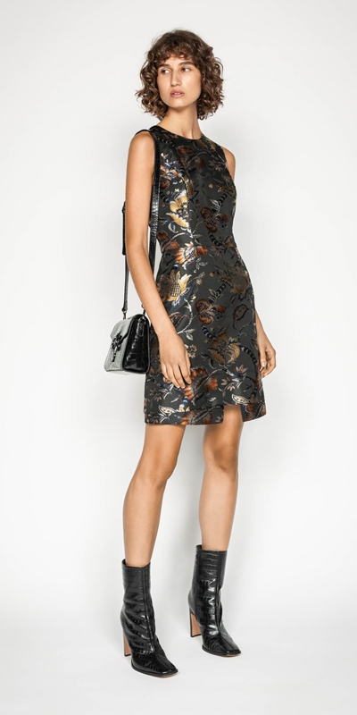 Wear to Work | Golden Tapestry A-line Dress