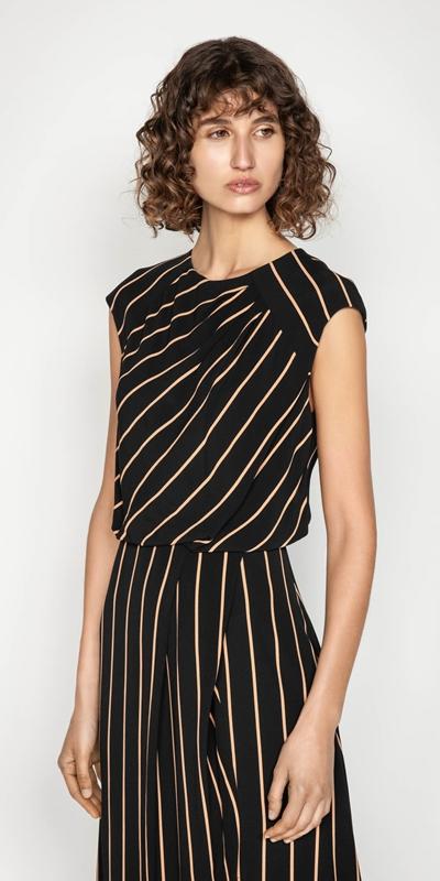 Dresses | Stripe Draped Neck Dress
