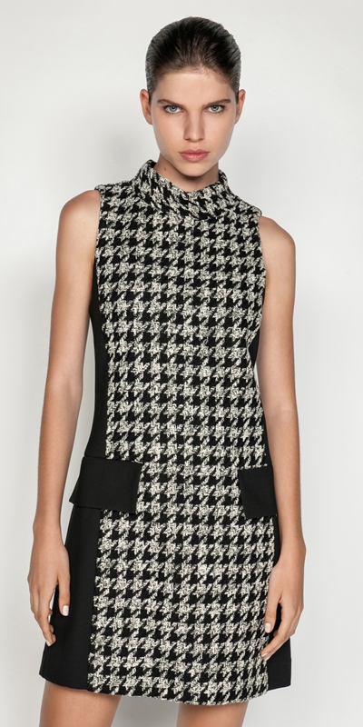 Sale  | Boucle Houndstooth Trapeze Dress
