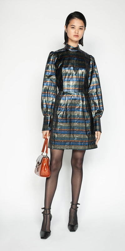 Wear to Work | Metallic Check Blouson Sleeve Dress