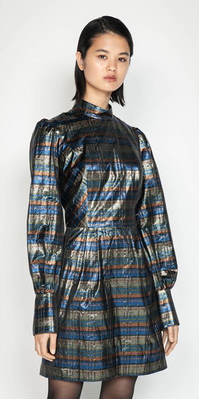 Dresses | Metallic Check Blouson Sleeve Dress