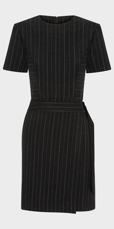 Wear to Work | Pinstripe Wrap Front Dress