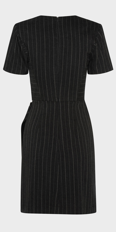 Work From Home  | Pinstripe Wrap Front Dress