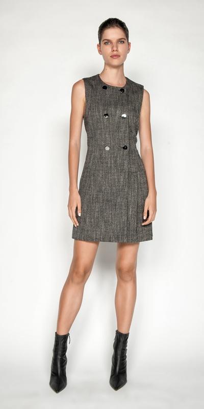Dresses | Melange Tweed Button Front Dress
