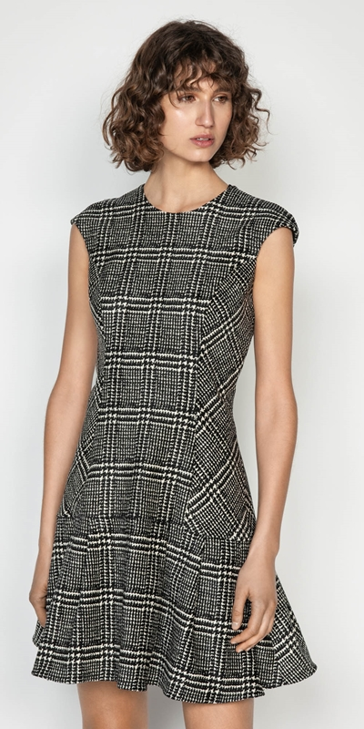 Wear to Work  | Chenille Check Frilled Hem Dress
