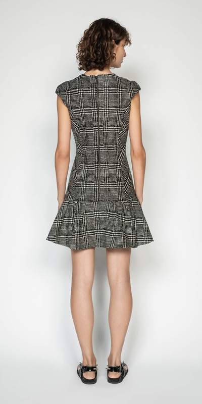 Dresses | Chenille Check Frilled Hem Dress