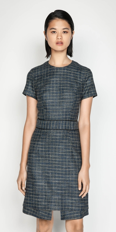 Wear to Work  | Melange Tweed A-line Dress