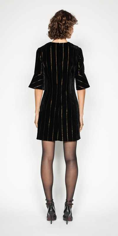 Dresses | Gold Stripe Velvet Shift Dress