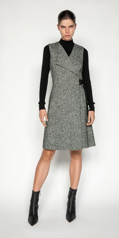 Sale | Brushed Wool Twill Wrap Dress