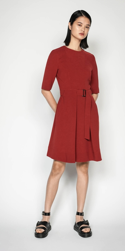 Work From Home | Rust Crepe Belted Dress