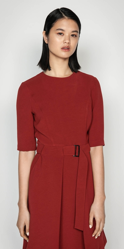 Sale  | Rust Crepe Belted Dress
