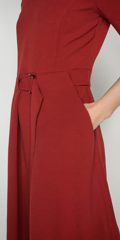 Dresses | Rust Crepe Belted Dress