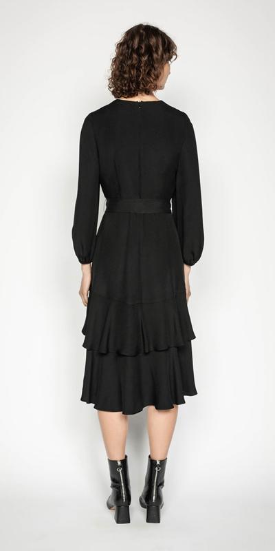 Dresses | Tiered Frill Tie Waist Dress