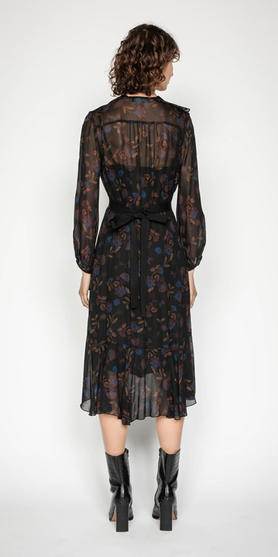 Dresses | Dark Floral Frilled Midi Dress