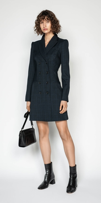 Sale | Ink Check Blazer Dress