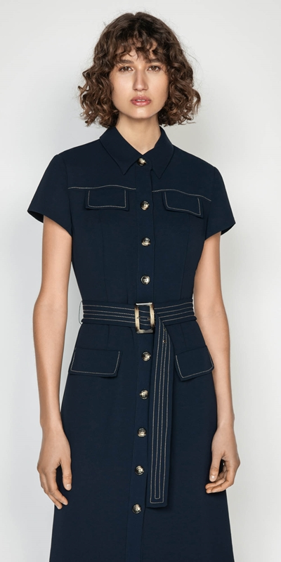 Wear to Work  | Belted Button Front Midi Dress