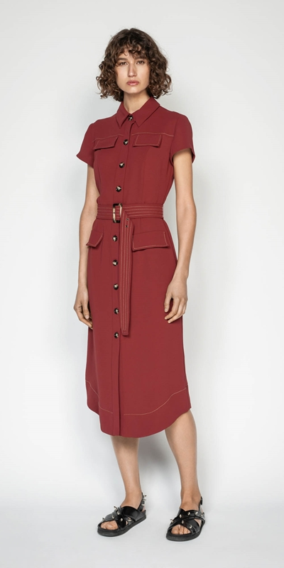 Sale | Belted Button Front Midi Dress