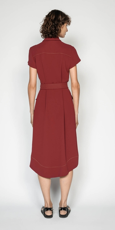 Dresses   Belted Button Front Midi Dress