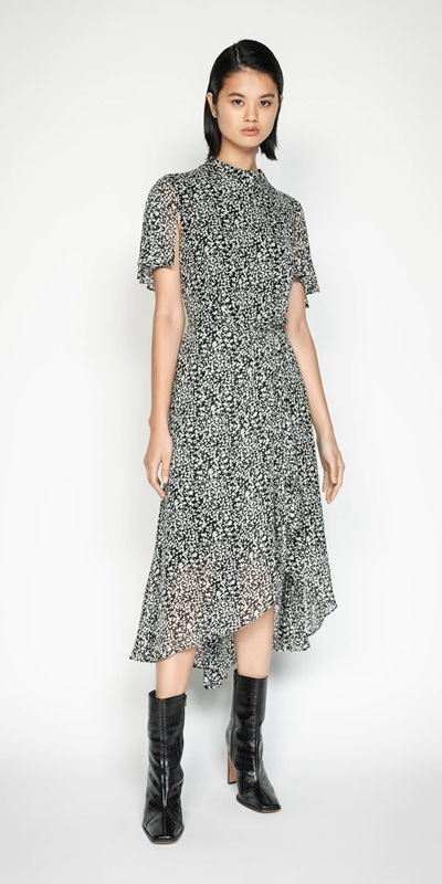 Wear to Work | Abstract Spot Draped Waist Dress