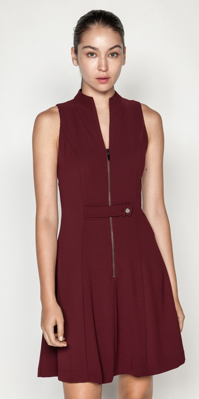 Dresses  | Crepe V-Neck Zip Front Dress