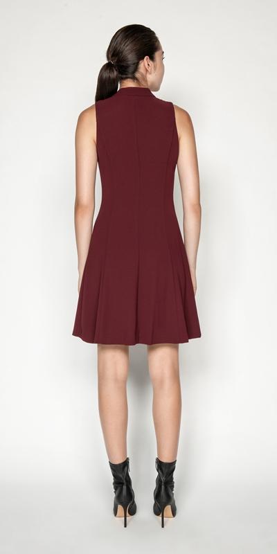 Dresses | Crepe V-Neck Zip Front Dress