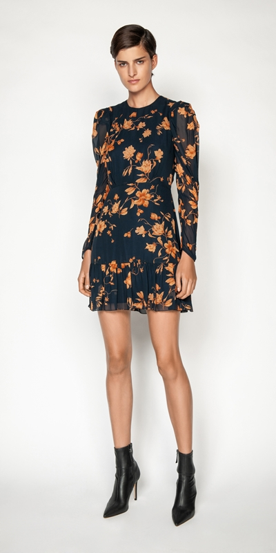 Made in Australia | Golden Floral Frilled Hem Dress