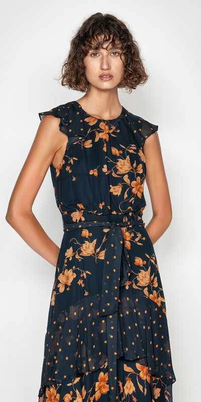 Made in Australia  | Golden Floral Midi Dress