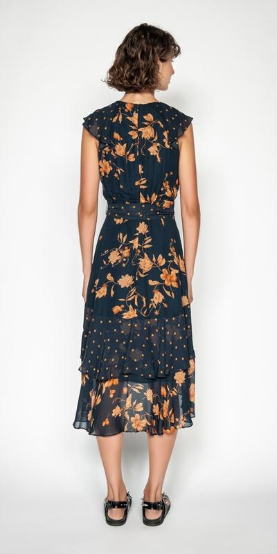 Dresses | Golden Floral Midi Dress