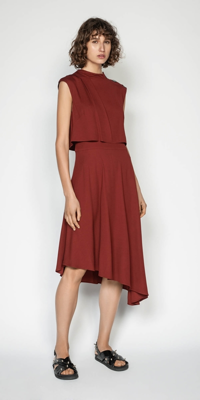 Sale | Twill Asymmetric Hem Midi Dress