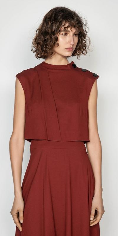 Dresses | Twill Asymmetric Hem Midi Dress