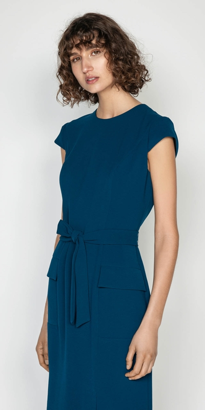 Wear to Work  | Crepe Tie Waist Midi Dress