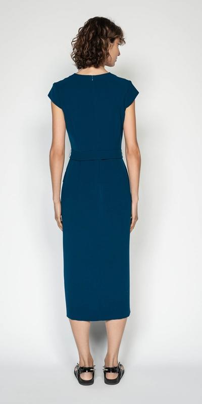 Dresses | Crepe Tie Waist Midi Dress
