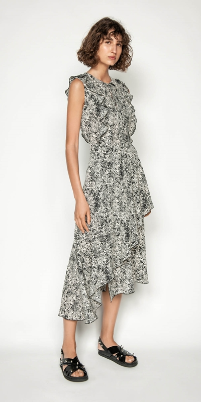 Made in Australia | Animal Spot Frilled Midi Dress
