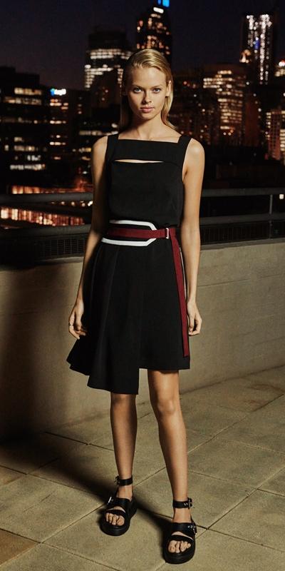 Dresses | Spliced Washer Crepe Belted Dress