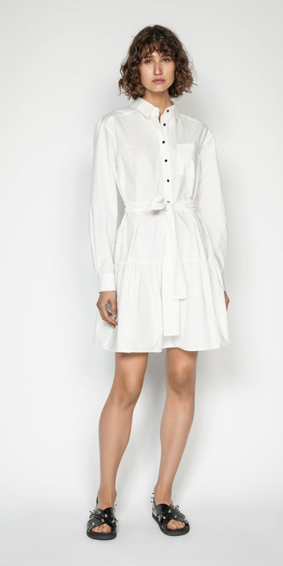 Wear to Work | Cotton Belted Shirt Dress