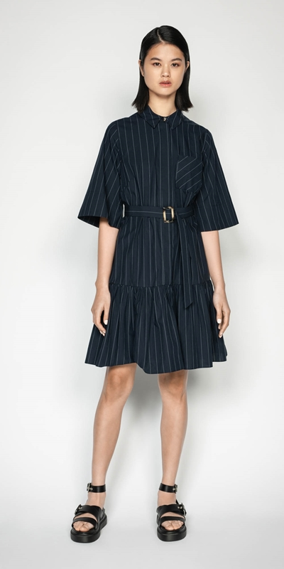 Wear to Work | Cotton Pinstripe Shirt Dress