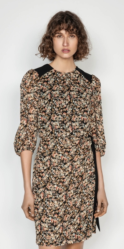 Dresses | Sand Floral Viscose Puff Sleeve Dress
