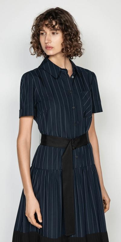 Dresses | Pinstripe Maxi Shirt Dress