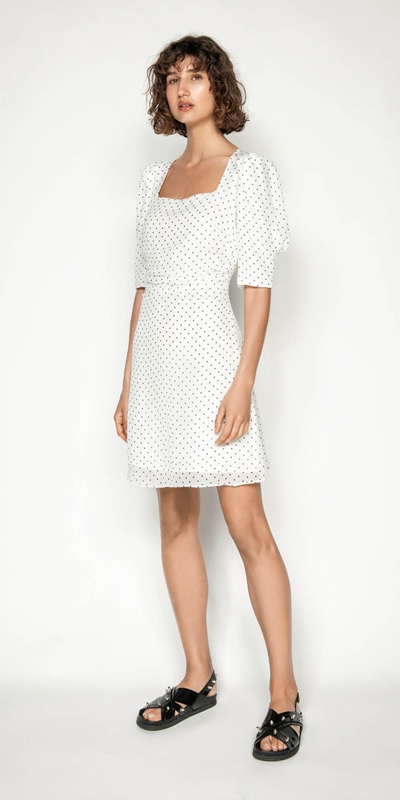Dresses | Spot Puff Sleeve Dress